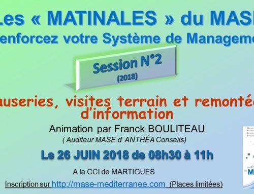 Les matinales du MASE Méditerranée le 26 juin 2018