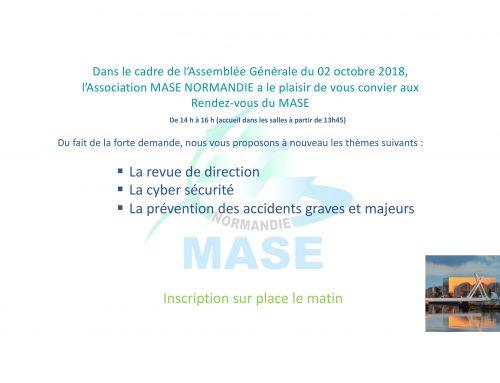 Rendez vous du MASE Normandie le 2 octobre 2018 consacré à la Revue de Direction